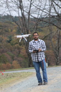 Javier González-Rocha flying a drone for Department of Aerospace Engineering